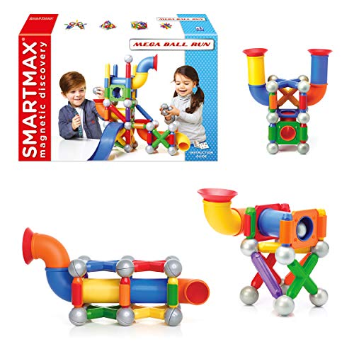 SmartMax Mega Ball Run STEM Magnetic Discovery Building and Ball Run Set Featuring Safe, Extra-Strong, Oversized Building Pieces for Ages 3+