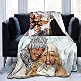 Custom Blanket Personalized Gifts Custom Throw Blankets with Photo Text for Couples Family Friends Fathers Mothers Day Kids Birthday (3 Photos Collage,60x50 Inch)