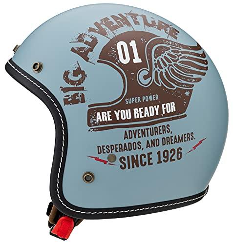 マルシン(MARUSHIN) バイクヘルメット ジェット MCJ4 フェザー オープンジェット ナチュラル ブルー Lサイズ (59-60cm) 3006545