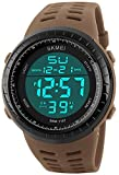 PASOY Men's Military Swiming Watch Brwon Rubber Band Stopwatch Waterproof Women's Sport Digital Watches (Brown)
