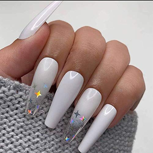Biony Ombre Extra Long Press on Nails Coffin Ballerina Gradeint Fake Nails False nails Acrylic Artificial Halloween Christmas Nails for Women and Girls 24Pcs (Style 2)