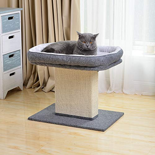 """Catry 19"""" Cat Bed Sisal Scratching Post Mat Gray"""