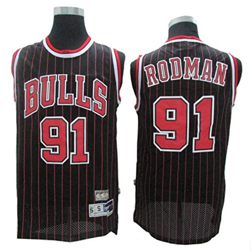 Herren-Trikots - Chicago Bulls # 91 Dennis Rodman Vintage-Trikots, Cooles, Atmungsaktives Swingman-Basketballtrikot Aus Stoff, Westentop-T-Shirt,Schwarz,L:180cm/75~85kg