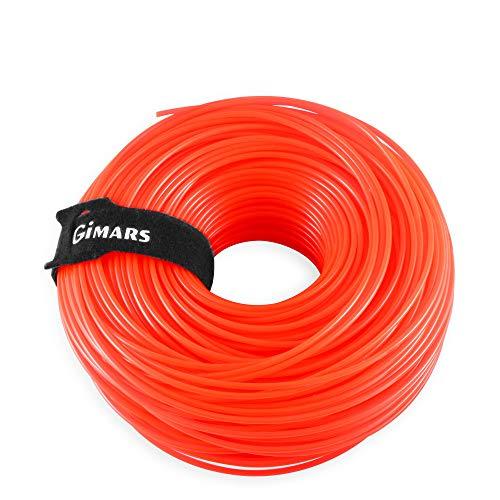 Gimars 2,4mm*110m Filo di Ricambio per Decespugliatore/Tagliabordi/Tagliaerba Corda Tonda in Nylon per Agricoltura, Paesaggio, Giardinaggio (arancione chiara)