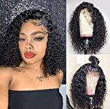 Human Hair Wigs Pre Plucked Curly Wig Human Hair with Baby Hair Human Lace Front Wigs for Black Women Natural Color 12 inches