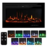 "Bigzzia 40"" Recessed and Wall Mounted Electric Fireplace, Wall Mounted Heater with Touch Screen Control Panel, Remote Control with Timer, Touch Screen, Adjustable Flame Color and Speed, 750-1500W"