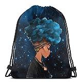 Msguide Mujeres africanas con peinado de cabello azul Mujeres Mochila con cordón Bolsa Regalo para el día de la madre Poliéster ligero Deporte Gimnasio Mochila de cuerda para yoga Viajes de compras