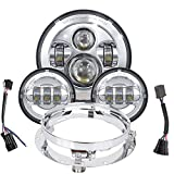 TRUCKMALL 7 inch LED Headlight Fog Passing Lights DOT Kit Ring Motorcycle for Touring Road King Ultra Classic Electra Street Glide Tri Cvo Heritage Softail Slim Deluxe Fatboy Chrome
