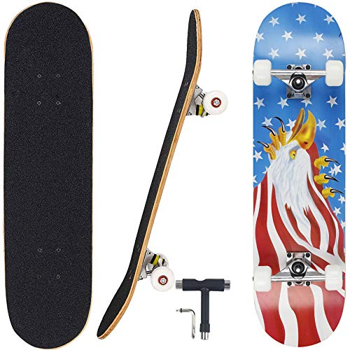Geelife Pro Complete Skateboards for Beginners Adults Youths Teens Kids Girls Boys 31'x8' Skate...