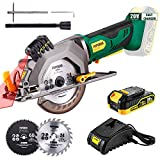 POPOMAN Cordless Circular Saw, 4-1/2' Saw with Laser Guide, 20V 2.0Ah Battery, 1H Charger,...