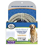Four Paws Walk-About Overhead Trolley & Tie-Down Rust-Resistant Galvanized Steel Exerciser Cable for Dogs, 100'