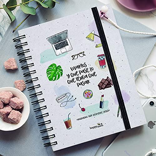 HappyMots - Agenda Semana Vista de Sep 2021 a Dic 2022: Vivamos y Que Pase Lo Que Tenga Que Pasar - Visualiza Tu Semana o Tu Mes de un Vistazo. Planificar Y Organizar son Los Secretos Del Éxito.