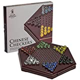 Yellow Mountain Imports Wooden Chinese Checkers Board Game Set -12 Inches - with Drawers and Colorful Glass Marbles