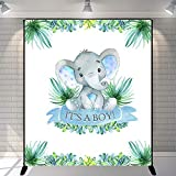 Mehofoto Boy Elephant Baby Shower Backdrop It's A Boy Peanut Baby Shower Background 5x6ft Vinyl Elephant Baby Shower Party Banner Decoration
