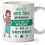 MUGFFINS Mama Tazas Originales de caf y Desayuno para Regalar a Madres - Esta Taza Pertenece a la Mejor Madre del Universo - Cermica 350 ml