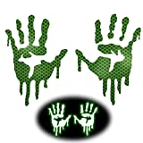 KeeForthewin High Intensity Diamond Grade Reflective Bloody Dripping Hands Hard Hats Decals for Helmets Motorcycle Fuel Tank Windscreens Rear Windows Car Bumper Stickers (Green, 5in Height)