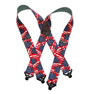 Holdup Suspender Company's Heavy Duty USA Flag 2″ Wide Suspenders with Patented Gripper Clasps