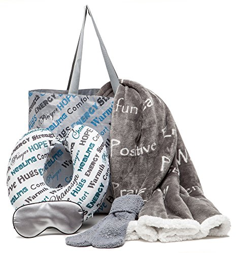 Chanasya 5-Piece Warm Hugs Positive Energy Healing Thoughts Comfort Caring Message Print Combo Gift Pack Throw Blanket, Neck Pillow, Eye Mask, Tote Bag, Socks - for Women Men Cancer Hospital - Grey