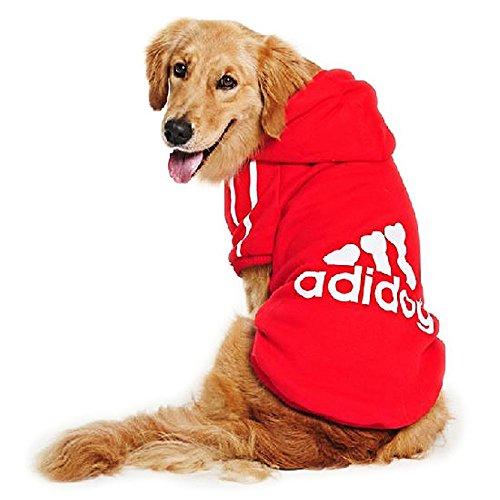 DULEE adidog Hund Warme Hoodies Mantel Jumpsuit Haustier Kleidung Jacke Pullover Baumwolle Pullover Outwear Rot 8XL