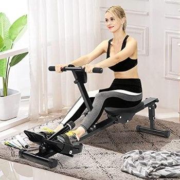 AYNEFY Rameur Musculation, Rameur Pliable Multifonctionnel Rameur de Fitness Réglable Rameur Aérobie Rameur Hydraulique avec Affichage Numérique Équipement de Fitness à Domicile