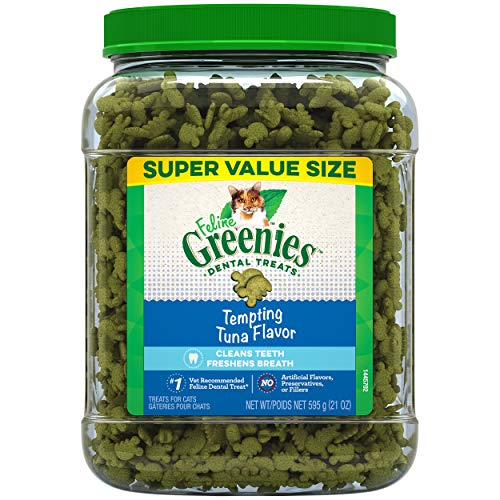 FELINE GREENIES Natural Dental Care Cat Treats Tempting Tuna Flavor, 21 oz. Tub