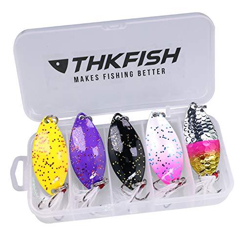 THKFISH Cucchiaini da Pesca, Esche Artificiali da Pesca per Trota, Persico, Luccio Spoon Kit 14g 5 Pezzi (B)