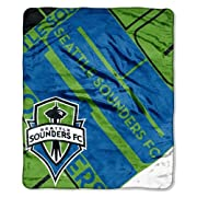 Measures 50-inches by 60-inches Made of 100% polyester The Northwest Company MLS Seattle Sounders Scramble Rachel Throw, 50-Inch by 60-Inch Features decorative binding around the edges Machine washable