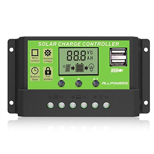 ソーラーチャージャーコントローラー ALLPOWERS 20A 12V 24V ソーラーパネル レギュレータ 充放電コントローラー チャージコントローラー LCDスクリーンディスプレイ付き デュアルタイマー機能 ソーラーシステム 充電器制御 電流ディスプレイ 自動調整スイッチ(グリーン)