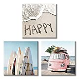 "Costal Canvas Wall Art Pictures: Surfboards & Pink Car on Sand Artwork Canvas Painting for Living Room (12"" x 12'' x 3 Panels)"