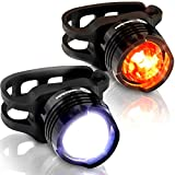 Stupidbright SBFR-1 Strap-On Micro LED Mini Front & Rear Bike Light Set (2 Pack: White & RED)