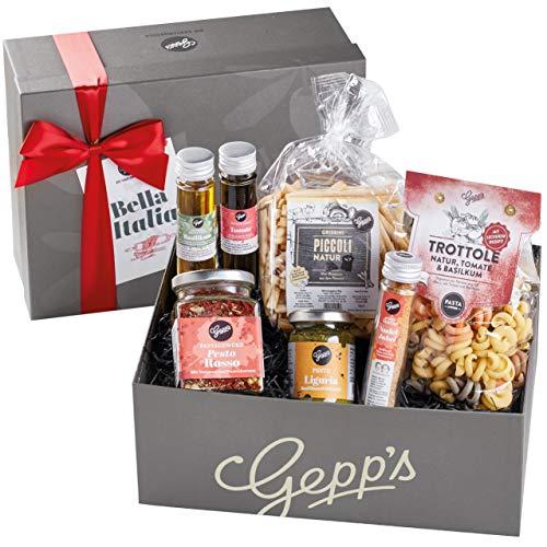 Gepp's Feinkost Bella Italia Geschenkbox I Feinste italienische Delikatessen, hergestellt nach eigener Rezeptur | Gourmet-Geschenk zum Geburtstag, zur Hochzeit I Geschenkkorb für Männer und Frauen