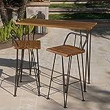 Leonardo Outdoor Industrial Teak Finished Acacia Wood Bar Set with Rustic Metal Finished Iron Frame
