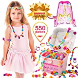 Orian Pop Beads Jewelry Making Kit for Kids, 550+ Piece Set, Pop Beads for Girls Ages 3 and Up, Fun and Colorful Snap Beads Kit, Create Rings, Bracelets, Necklaces and Great Colorful Unicorn Gift Bag