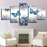 SJVR CanvasArtHD Pster con impresin de 5 Piezas de Mariposas Azules y Gypsophila Paniculata Blanca Sin Marco