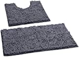 LuxUrux Bathroom Rugs Luxury Chenille 2-Piece Bath Mat Set, Soft Plush Anti-Slip Bath Rugs + U Shape Contoured Mat.1'' Microfiber Shaggy Carpet, Super Absorbent, Dark Gray.