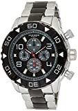 Akribos XXIV Men's Multifunction Watch - 4 Subdials Day, Date and GMT - Wave Textured Dial on Stainless Steel Bracelet - AK814