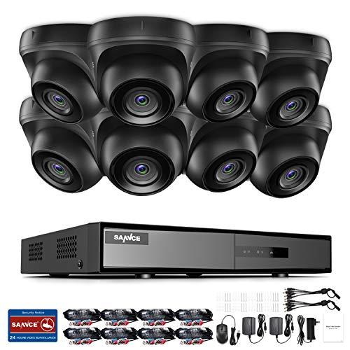 SANNCE Kit Videosorveglianza 1080P Lite DVR TVI 8 Canali 8 Telecamera Sorveglianza Esterno 720P Kit di Sorveglianza H.264 ONVIF Motion Detection P2P Cloud Visione Notturna Senza HDD