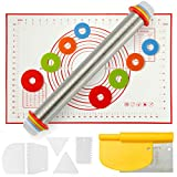 Adjustable Rolling Pin with Thickness Rings Measurement Pastry Mat Set, 2-IN-1 Bench Scraper Pizza Cutter Flexible Plastic Dough Scraper, Cake Smoother Set for Baking Cookie Chapati Fondant Pie Crust