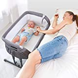 Angelbliss Baby Bassinet & Bedside Sleeper,Multifunctional Baby Bed with Cradle Mode,Portable Co-Sleeping Bassinet with 10 Height Adjustable(Black)