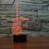 Música Rock Crazy Band Patrón de flores frescas Cantante de guitarra baja Luz de noche 3D Colores encantadores Lámpara de mesa cambiante Decoración de la habitación Día de San Valentín Regal