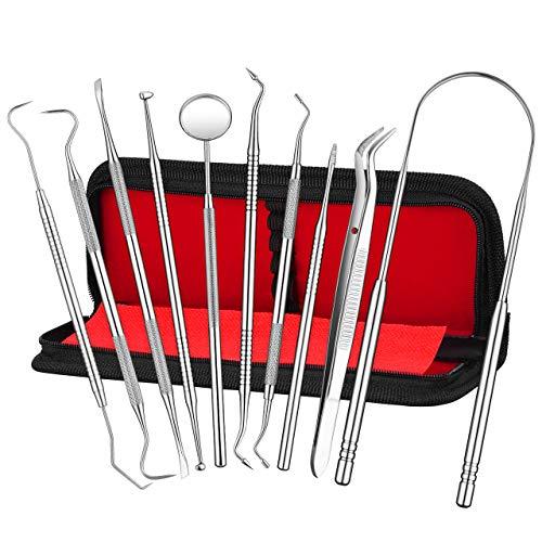 ATMOKO 10er Zahnpflege Set, Zahnreinigung Set, Zahnsteinentferner, Profi-Dental Set, Zahnarzt Instrument, Zahnarztbesteck, Mundspiegel, Zungenreiniger,scharfe Sonde,Pinzette