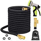 Higen 100ft Upgraded Expandable Garden Hose Set, Extra Strength Fabric Triple Layer Latex Core, 3/4' Solid Brass Fittings, 9 Function Spray Nozzle with Storage Bag, Premium No-Kink Flexible Water Hose