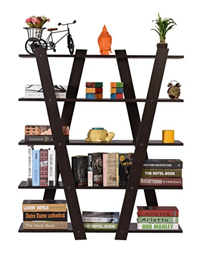 DeckUp Alvo Engineered Wood Book Shelf and Storage Unit (Dark Wenge, Matte Finish)
