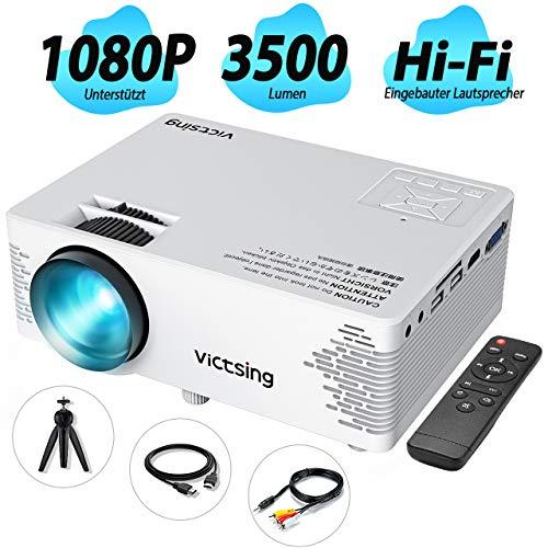 VicTsing Mini-Heimkinoprojektor,Full HD 1080P und 170-Zoll-Display unterstützt,3000 Lux tragbarer Filmprojektor,40000Stunden LED-Lampenlebensdauer,kompatibel mit TV-Stick,PC,Laptop, HDMI/VGA/SD/AV/USB