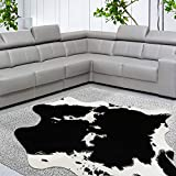 Yincimar Cow Hide Rug Faux Cowhide Rug Black and White 5.2'X4.6' Animal Print Area Rug Carpet for Living Room,Bedroom,Home Office Sofa Western Decor