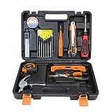 Caja de herramientas para el hogar Juego de herramientas de 16 piezas Juego de herramientas de mano plegable para el hogar con caja de herramientas de transporte sólido Reparación de casas Kit de herr