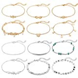 Softones 12-16Pcs Ankle Bracelets for Women Girls Gold Silver Two Style Chain Beach Anklet Bracelet...