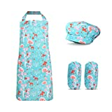 sheelokhwui Kids Apron for Boys and Girls,Apron for Kids with Pocket and Chef Hat { Blue Chirstmas M (for 47-59 Inch Tall / 6-10 Years Old)}