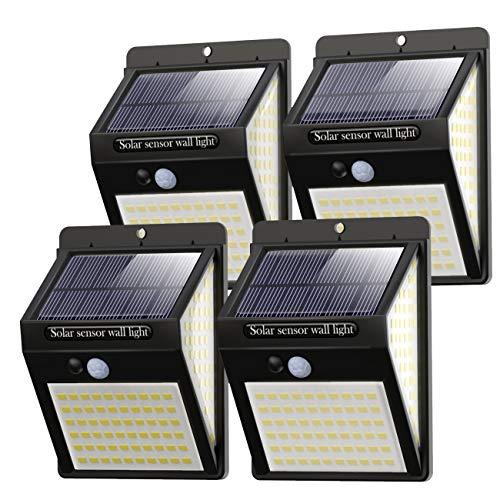 Luce Solare LED Esterno [4 Pezzi], 140LED Luci Solari Lampade Faretti Solari a LED da Esterno Sensore di Movimento IP65 Impermeabile 3 Modalit per Giardino, Parete Wireless Risparmio Energetico