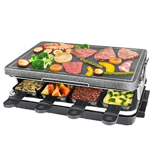 Raclette mit Steinplatte, Tischgrill für 8 Personen, 8 Pfännchen Antihaftbeschichtet mit Wärmeisolierten Griffen, Regulierbare Temperatur, 1300 Watt